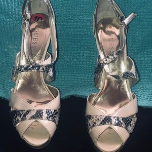 Guess Nude & Snakeskin Print Patent Leather Heels